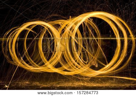 Round Light Painting Sparks at Night