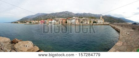 Town in Croatia, Karlobag Panorama in the Autumn