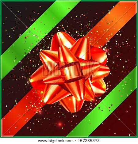 Red and green Bow on gift box, confetti, tape vector illustration