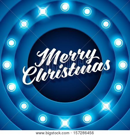 Vector realistic 3D light background with Merry Christmas label. Retro design element circle signboard glowing with lamps. American advertisement style vector illustration.