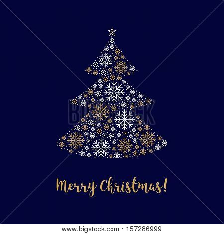 Christmas tree, Merry Christmas card with calligraphy. Abstract decorative tree made of gold snowflakes. Minimal design, corporate business style greeting card. Vector isolated elements