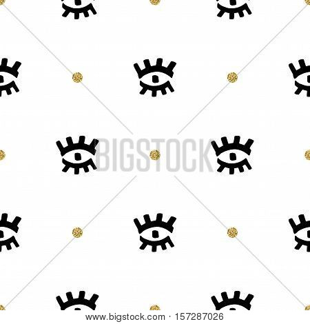 Trendy fashion seamless pattern, Artistic collage eyes hand-drawn black marker and gold points, Ultra modern artistic style. Vector abstract repeating background