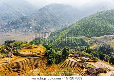 Top View Of Village Houses And Rice Terraces. Vietnam