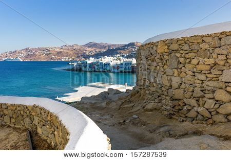 Greece Mykonos view of the Chora old town from the historic windmills promontory