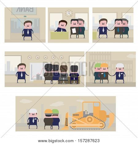 vector illustration, consisting of 6 images showing the investment of money in real estate