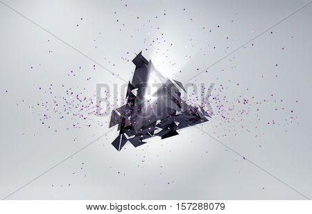 Abstract 3D background. Particles in space with broken triangle and volumetric light.