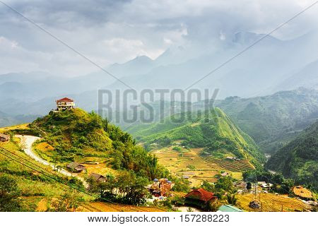 House On Mountain Top At Sa Pa, Lao Cai Province, Vietnam