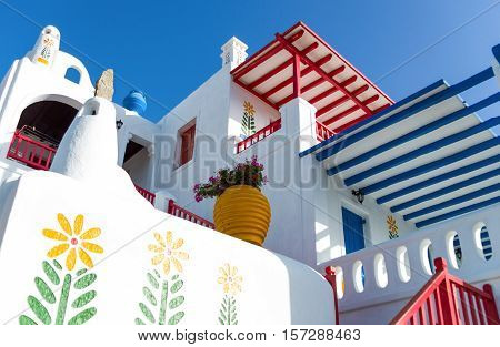 Mykonos Greece - October 16 2012: A fully colored and decorared typical house with bougainvillea in Ano Mera area