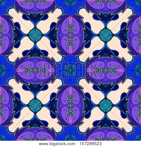 Abstract seamless vector pattern in blue and lilac tones.