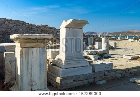 Greece Delos foreshortening of the archaeological site