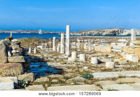 Greece Delos view of the harbor from archaeological site
