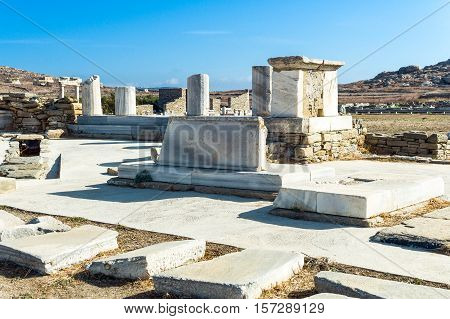 Greece Delos archaeological site the ruins of the Italian's Agora