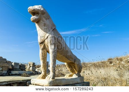 Greece Delos archaeological site the marble Naxian lions