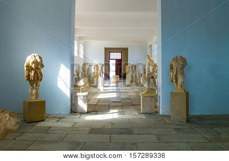 Delos Greece - October 17 2012: Archaeological site marble statues in the Museum
