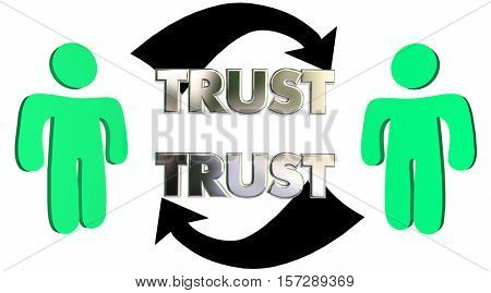 Mutual Trust Confidence People Partner Arrows 3d Illustration