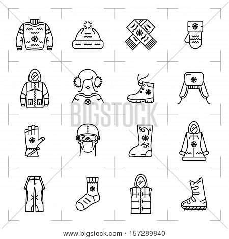 Trendy winter clothes isolated line icons set. Modern web symbols or printing logos. Clothing for winter recreation, sports, snowboarding, skiing. Vector outline sportswear symbols illustration