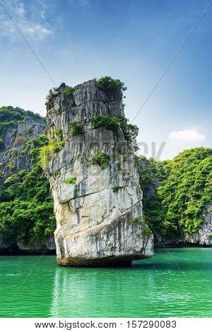 Scenic Rock Pillar And Azure Water In The Ha Long Bay, Vietnam
