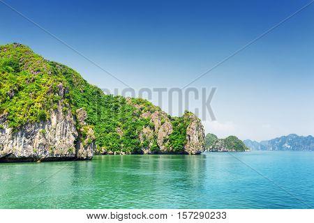 Scenic Karst Isles On Blue Sky Background In The Ha Long Bay