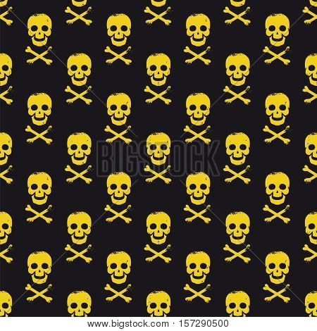Black seamless pattern with skulls and bones cross with grundge vector
