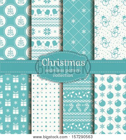 Merry Christmas and Happy New Year! Set of vector seamless backgrounds with winter holiday symbols: candy cane xmas tree holly christmas ball gifts snowflakes snowmans and Norwegian pattern.
