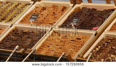 A Display of Various Types of Sweet Fudge for Sale.