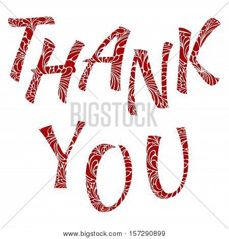 Thank You red vector lettering. Text for gratitude expressing