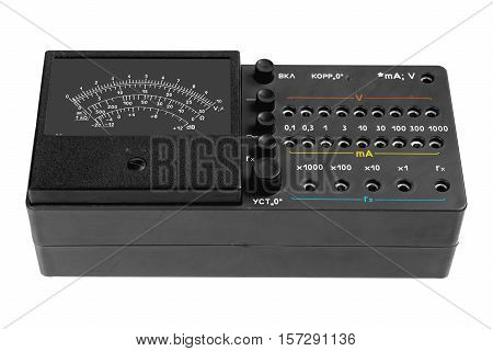 Multi - function analog meter on white background