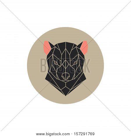 Vector geometric head Tasmanian Devil. Animal illustration.