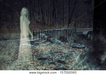 3D Illustration of the ghost of a woman in an ancient forest.