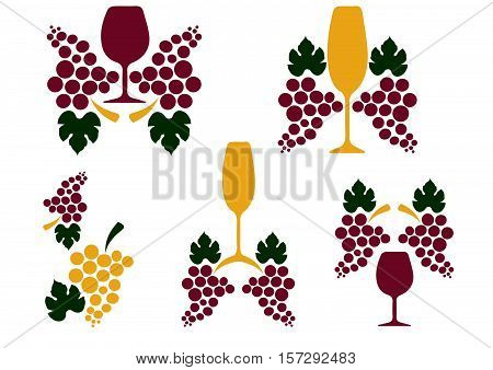 Grape wine decoration vector.illustration with vintage wine glass decoration isolated.Suitable for Poster.