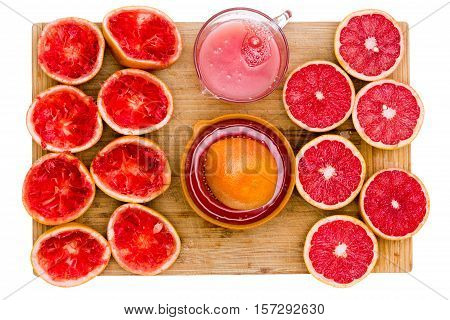 Ruby Grapefruit Still Life With Juice And Juicer