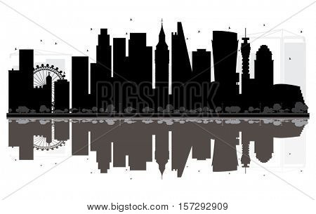 London City skyline black and white silhouette with Reflections. Simple flat concept for tourism presentation, banner, placard or web site. Cityscape with landmarks