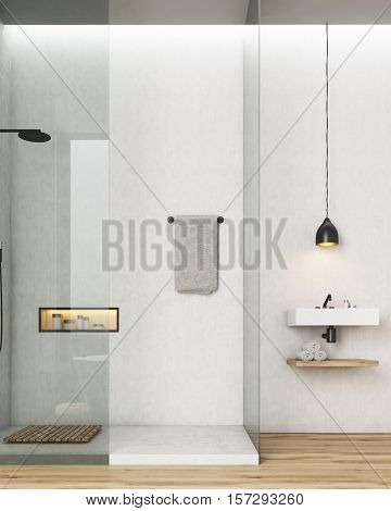 Bathroom And Toilet Interior With White Walls