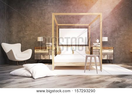 Bedroom With Pillared Bed And A Poster, Toned