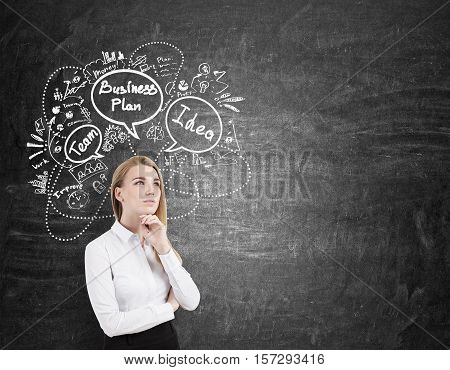 Blond Businesswoman Is Thinking Near Blackboard With Sketches