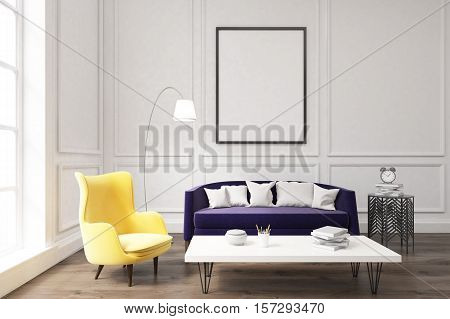 Living Room Interior With Purple Sofa
