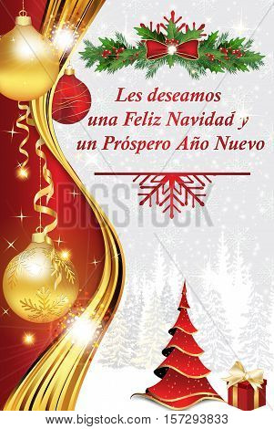 Corporate winter image photo free trial bigstock corporate winter holiday greeting card in spanish language we wish you merry christmas and a happy new year les deseamos una feliz navidad prospero ano m4hsunfo