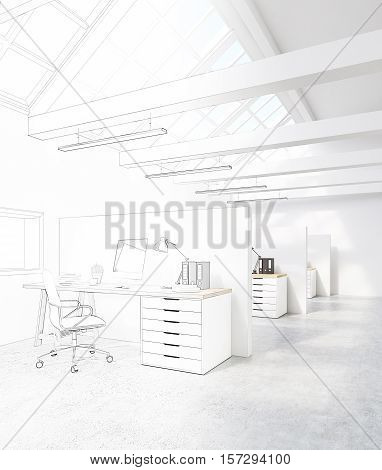 White office with cubicles. There are desktops on the tables and an attic roof with windows. Concept of a design studio. 3d rendering. Mock up