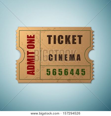 Vintage paper admit one and ticket icon isolated on blue background. Vector Illustration