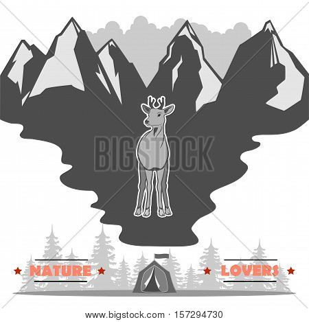 in the middle is a young deer against the background of the inscription, the mountains and the woods with a tent. totally vector illustration.