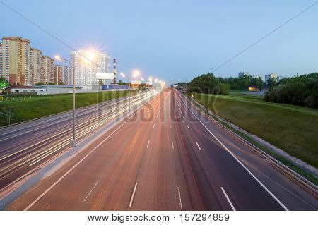 Night Traffic. The Moscow Automobile Ring Road.