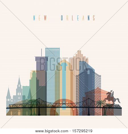 Transparent styled New Orleans state Louisiana skyline detailed silhouette. Trendy vector illustration.