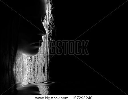 sad female profile silhouette with water reflection on black background, monochrome image with copyspace