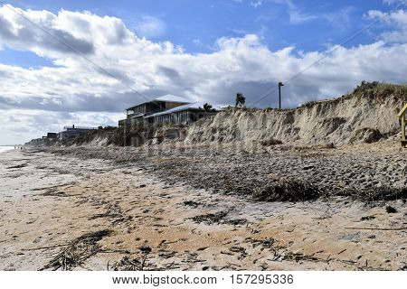 VILANO BEACH, FLORIDA, USA - NOVEMBER 6, 2016: Aftermath of beach erosion caused by hurricane Matthew hitting the east coast of Florida on October 7, 2016