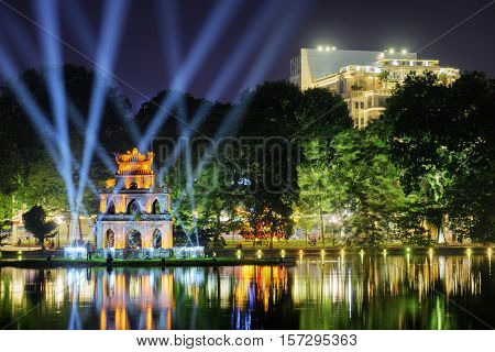 Night View Of The Sword Lake And The Turtle Tower, Hanoi
