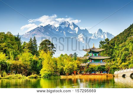 Scenic View Of The Jade Dragon Snow Mountain, China
