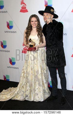LAS VEGAS - NOV 17:  Joy Huerta, Jesse Huerta at the 17th Annual Latin Grammy Awards Press Room at T-Mobile Arena on November 17, 2016 in Las Vegas, NV