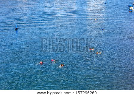 Basel, Switzerland - 27 August, 2016: people swimming in the Rhine river, view from the Johanniterbruecke bridge. Basel is a city on the Rhine river in northwestern Switzerland, situated where the Swiss, German and French borders meet.