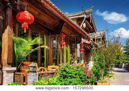 Wooden Facade Of Traditional Chinese House In Lijiang, China