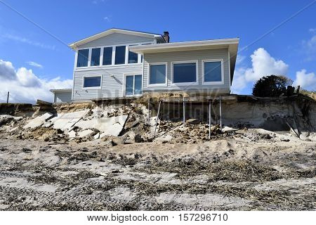 VILONA BEACH, FLORIDA, USA - NOVEMBER 6, 2016: Aftermath of beach house damage caused by hurricane Matthew hitting along the east coast of Florida on October 7, 2016.